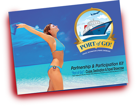 An image of a Port of Go sponsorship package containing a woman standing in the beach enjoying the breeze.